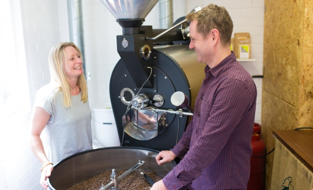 Emma and Scott's coffee roaster has a home in their garage