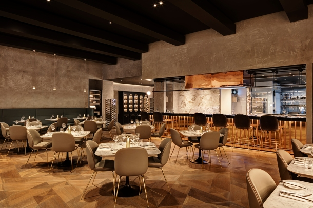 The open kitchen is the focal point of the stylish Harvey Nichols Restaurant