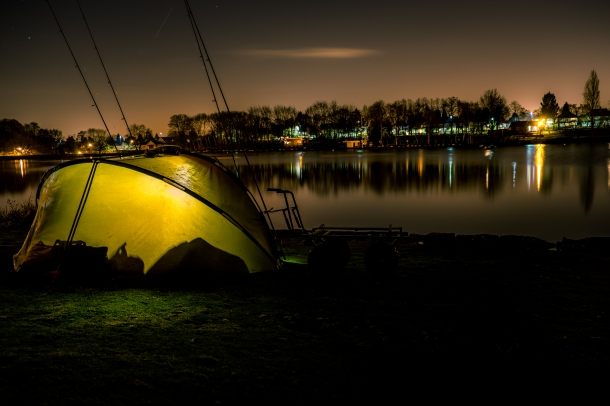 A fisherman set up for the night