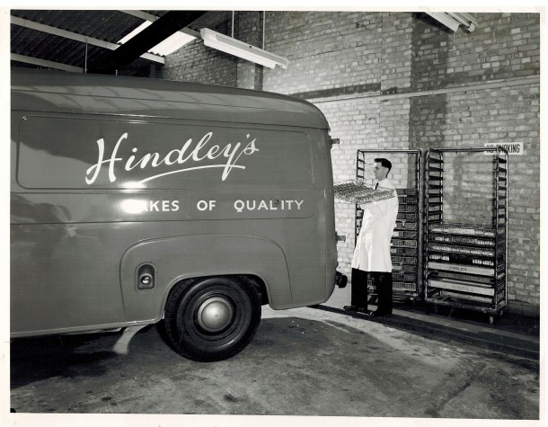 A Hindley's van being loaded with bread