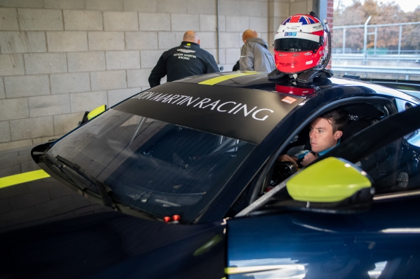 Martin gets ready to test the new Aston Martin Racing Vantage GT4