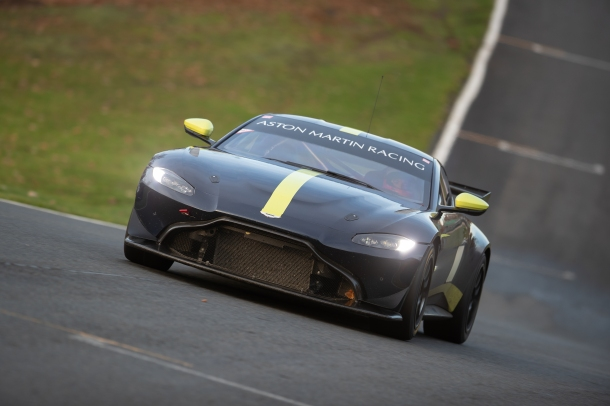 Putting the Aston Martin through its paces on the track